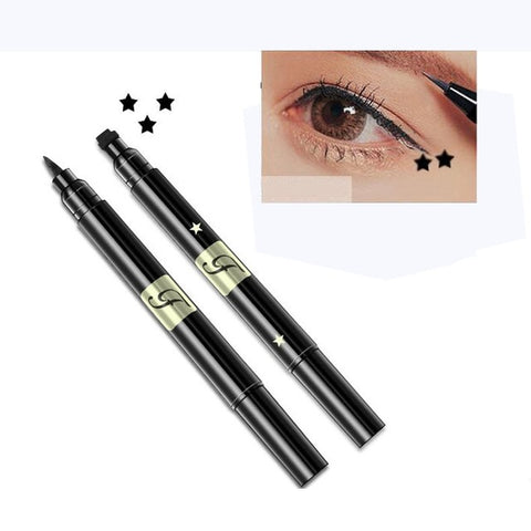 1PC Waterproof Liquid Stamp Eyeliner Pen Waterproof Double Head Tattoo Stamping Eye Liner Pencil Makeup Tools Heart/Star/Moon