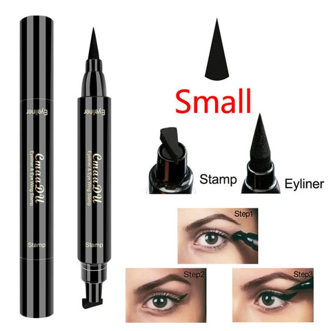 1 Pc Brand New Double Head Liquid Eye Liner Black Seal Pen Stamp Eyeliner Pencil Waterproof Lasting Cat Eyes Makeup Tool TSLM2