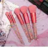 New 5pcs Lollipop Candy Unicorn Crystal Makeup Brushes Set Colorful Lovely Foundation Blending Brush Makeup Tool maquillaje