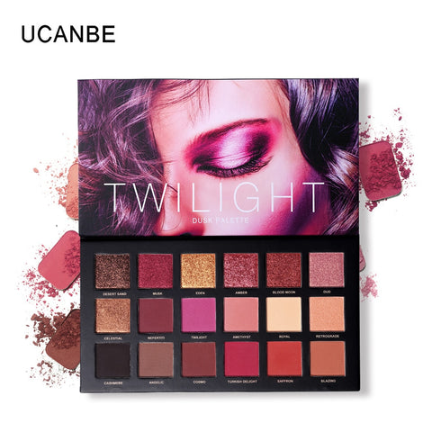 18 Colors Sexy Red Pigment Eye Shadow Palette Waterproof Glitter Eye Shadow Powder Long-lasting Shimmer EyeshadowTSLM2