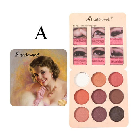 Metallic 9 Color Retro Eyeshadow Palette Shimmer Matte Eye Shadow Nude Natural Earth Color Warm Red Diamond Glitter Cosmetic
