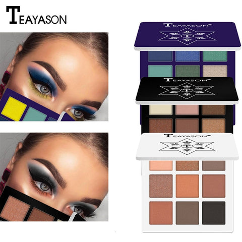9 Color Glitter Eyeshadow Makeup Pallete Matte Eye shadow Palette Shimmer Shine Diamond Eyeshadow Powder Pigment Cosmetics TSLM1