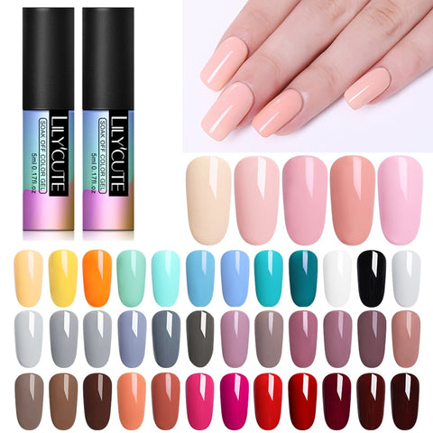 LILYCUTE  Series Nail Polish 5ml Purple Red Black Gray Soak Off UV Gel Polish Glue Lacquer Manicure Nail Art Varnish Tool