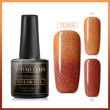 T-TIAO CLUB Thermal Shimmer Nail Gel Holographic Glitter Temperature Color Changing UV Gel Polish Varnish Lacquer Soak Off