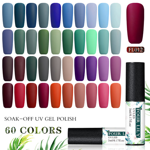 FOURLILY 5ML Gel Nail Polish Matte Top Coat Needed Soak Off Manicure UV Gel Varnish DIY Nail Art Manicure Lacquer