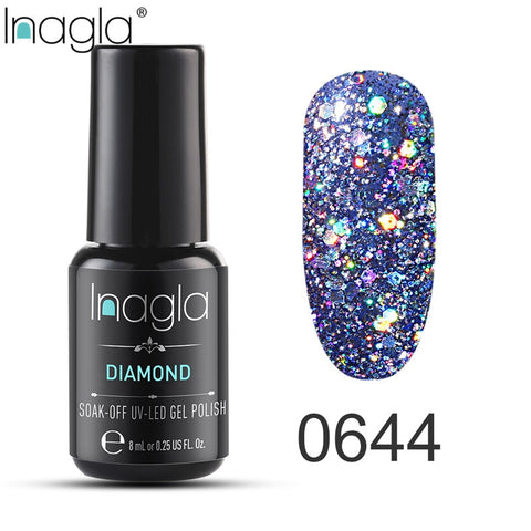 Inagla Nail Polish 8ml Diamond Series Varnish Glitter Nail Art Lacquer Polish Hybrid Varnish Gel Polish 108 UV Color Gel Vernis