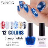 SVKDR Colorful 1Bottle 7ml Stamping Polish Stamp Plate Printing Candy Colors Stamp Nail Polish Nail Art Varnish Lacquer