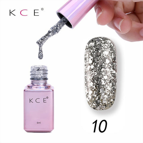 KCE 6ml Bling Gel Nail Polish Glitter Sequins UV Gel Soak Off Sequins Nail Art Lacquer Polish Manicure