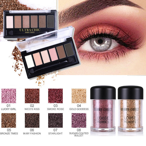BONNIE CHOICE Palette Eyeshadow Pigment Eye Shadow Glitter Powder Matte Metallic Shiny Holographic Eye Toppers Eyeshadow Makeup