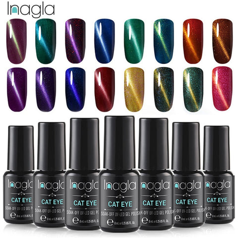 Inagla 3D Magnetic Nail Polish 8ml Cat Eye Nail Varnish Magnet Nail Lacquer Base Coat Top Coat Needed