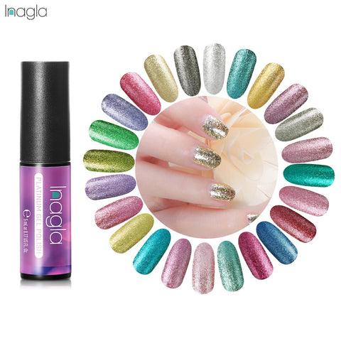 Inagla Platinum Gel Glitter Nail Polish 5ml Transparent Glimmer Shiny Lacquer Varnish Manicure Nail Art Polish 34 Colors