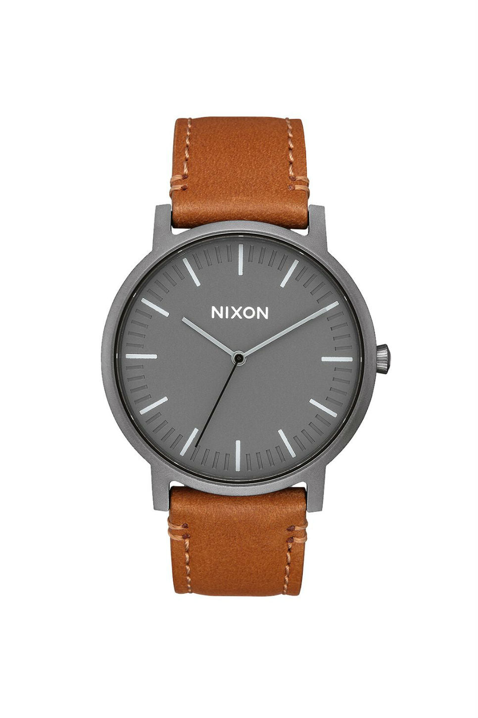 Nixon - Porter Leather Watch - Gunmetal/Charcoal/Taupe - Front