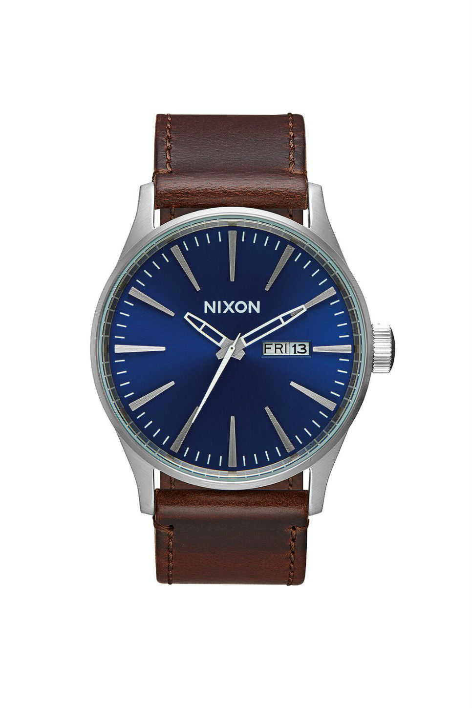 Nixon - Sentry Leather Watch - Blue/Brown - Front