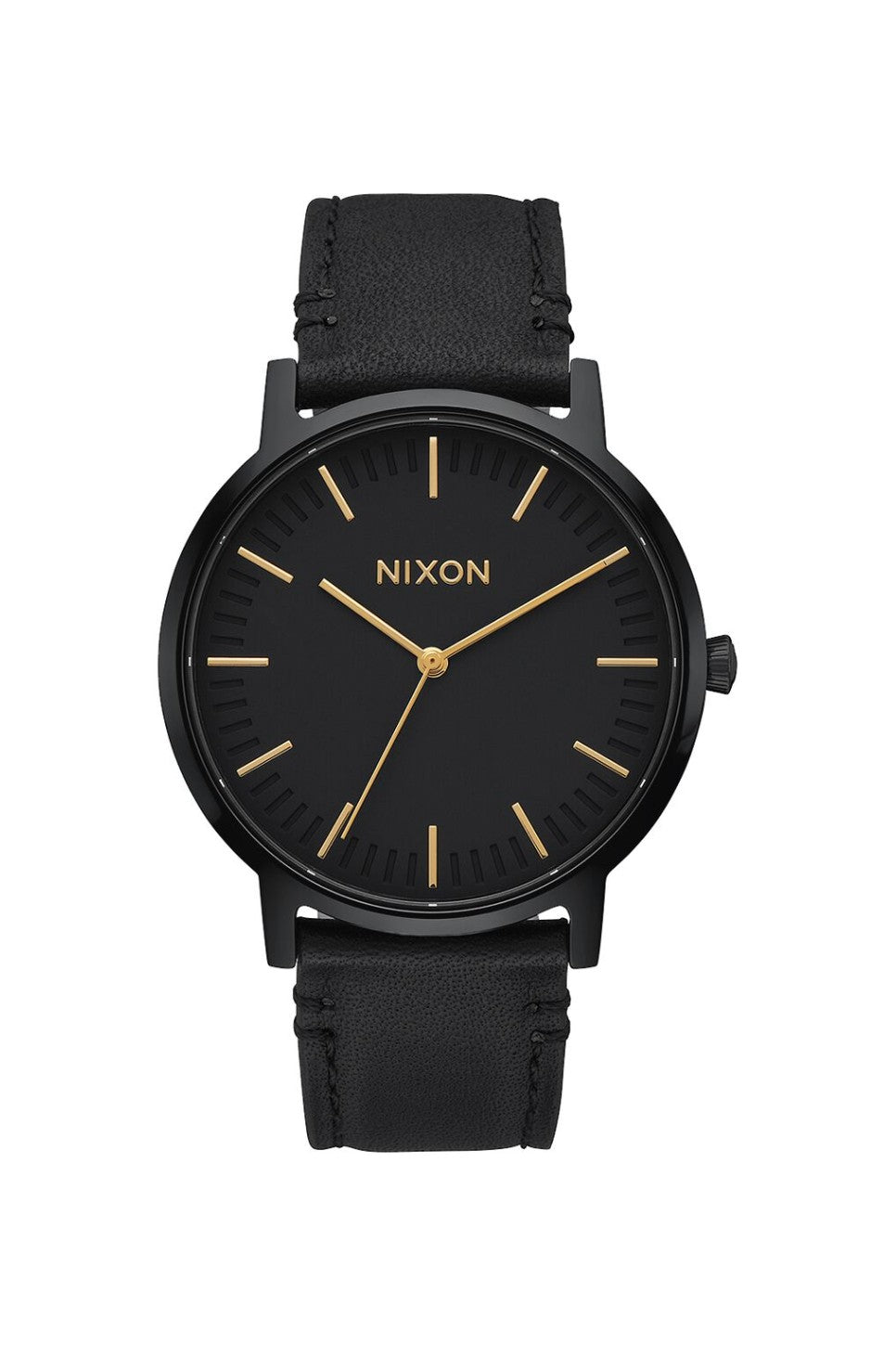 Nixon - Porter Leather - All Black/Gold - Front