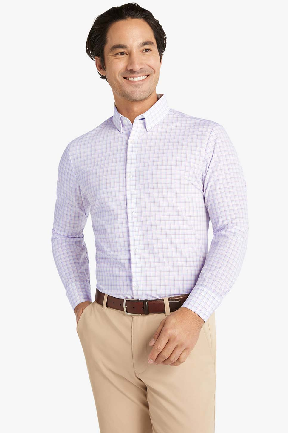 Mizzen + Main - Leeward LS - Red Light Blue Multi Check - Front