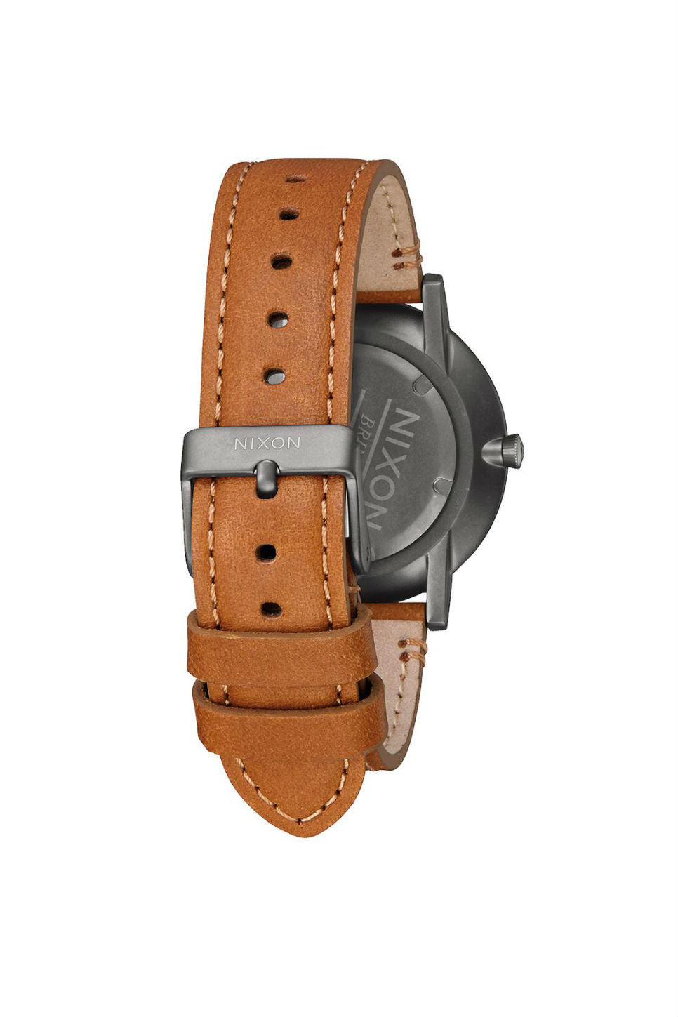 Nixon - Porter Leather Watch - Gunmetal/Charcoal/Taupe - Back
