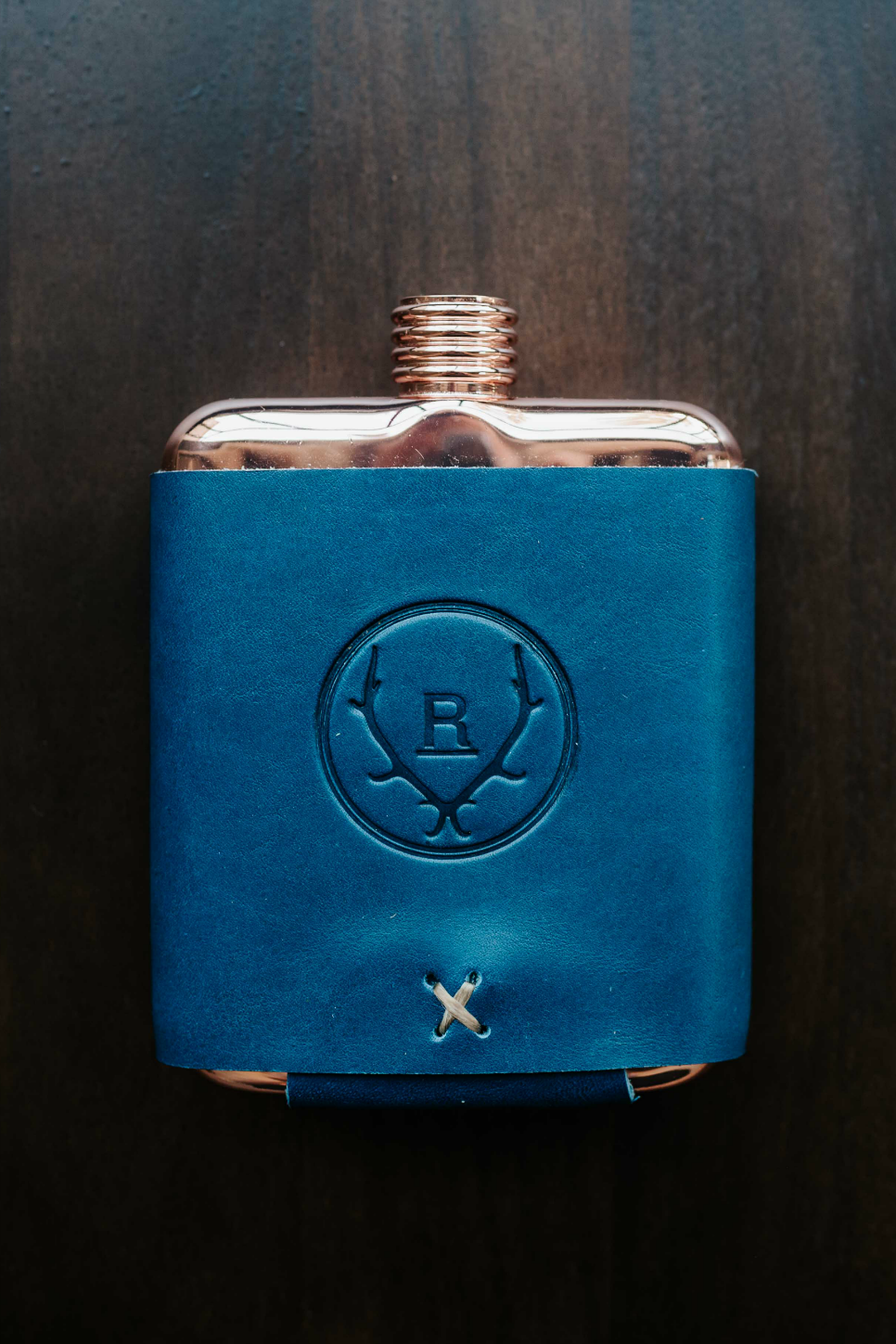 Whiskey Leathers x Revolvr - Leather Flask - Marine Blue