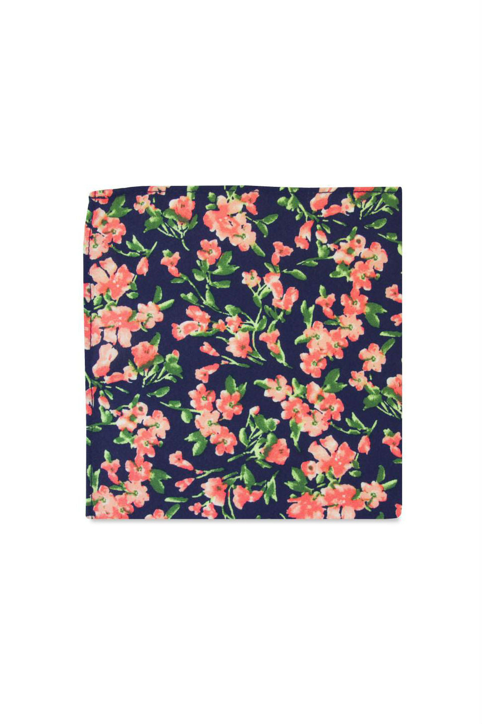 THE WEISS POCKET SQUARE Navy Pink Floral