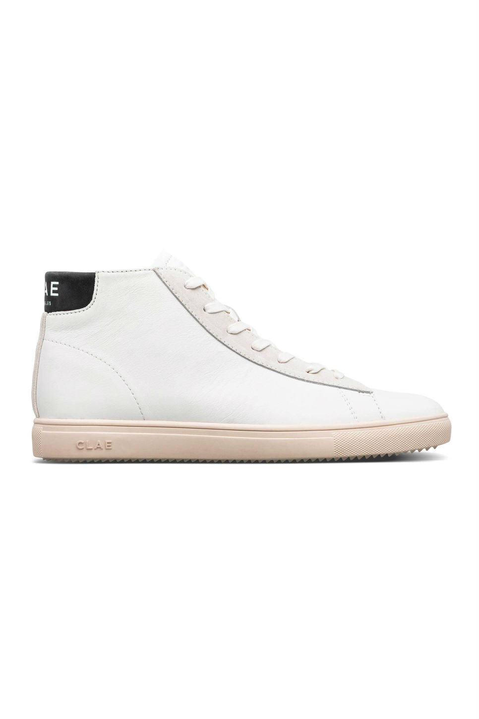 CLAE - Bradley Mid - White Leather/Black - Side