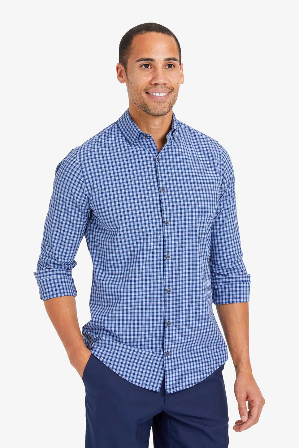 Mizzen + Main - LW Leeward LS - Blue Red Multi Plaid - Front