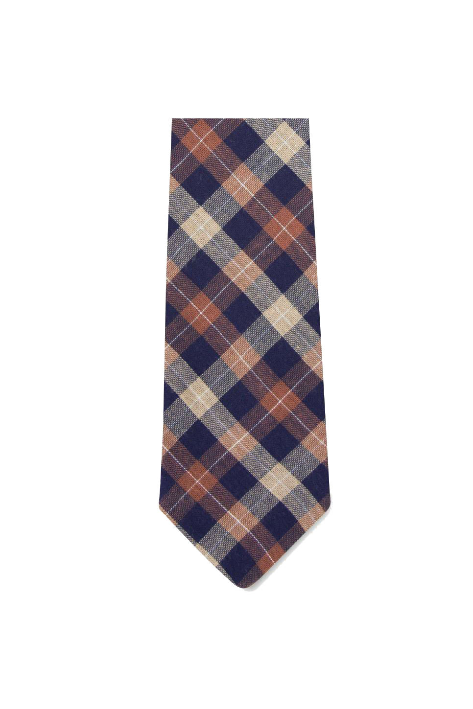 Pocket Square Clothing - The Emerson Tie - Navy/Orange Check