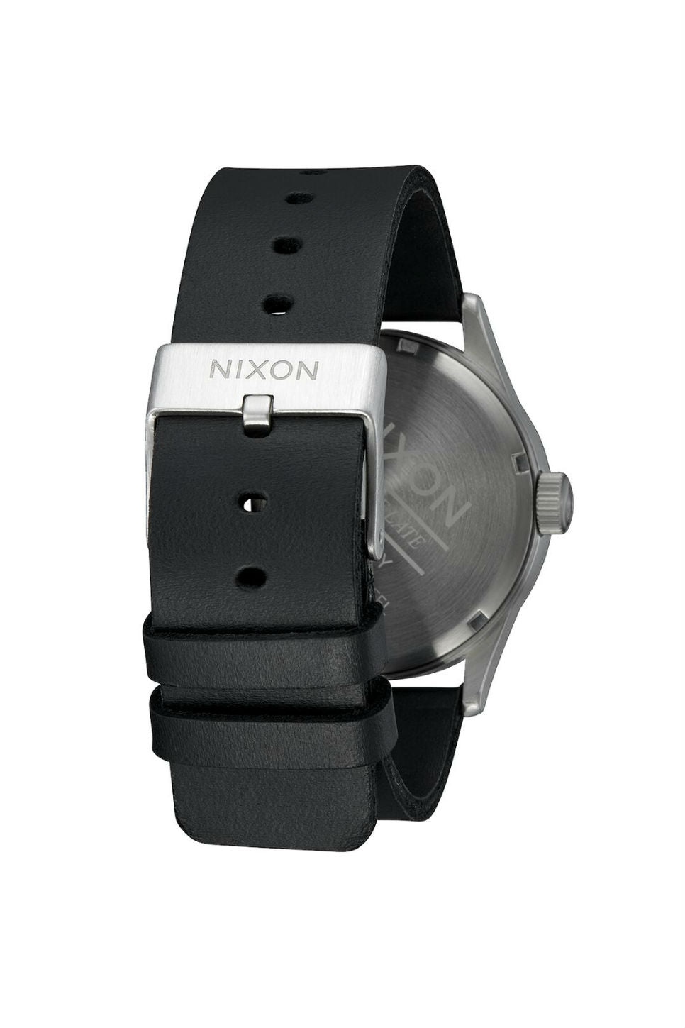 SENTRY LEATHER WATCH - ALL SILVER/BLACK
