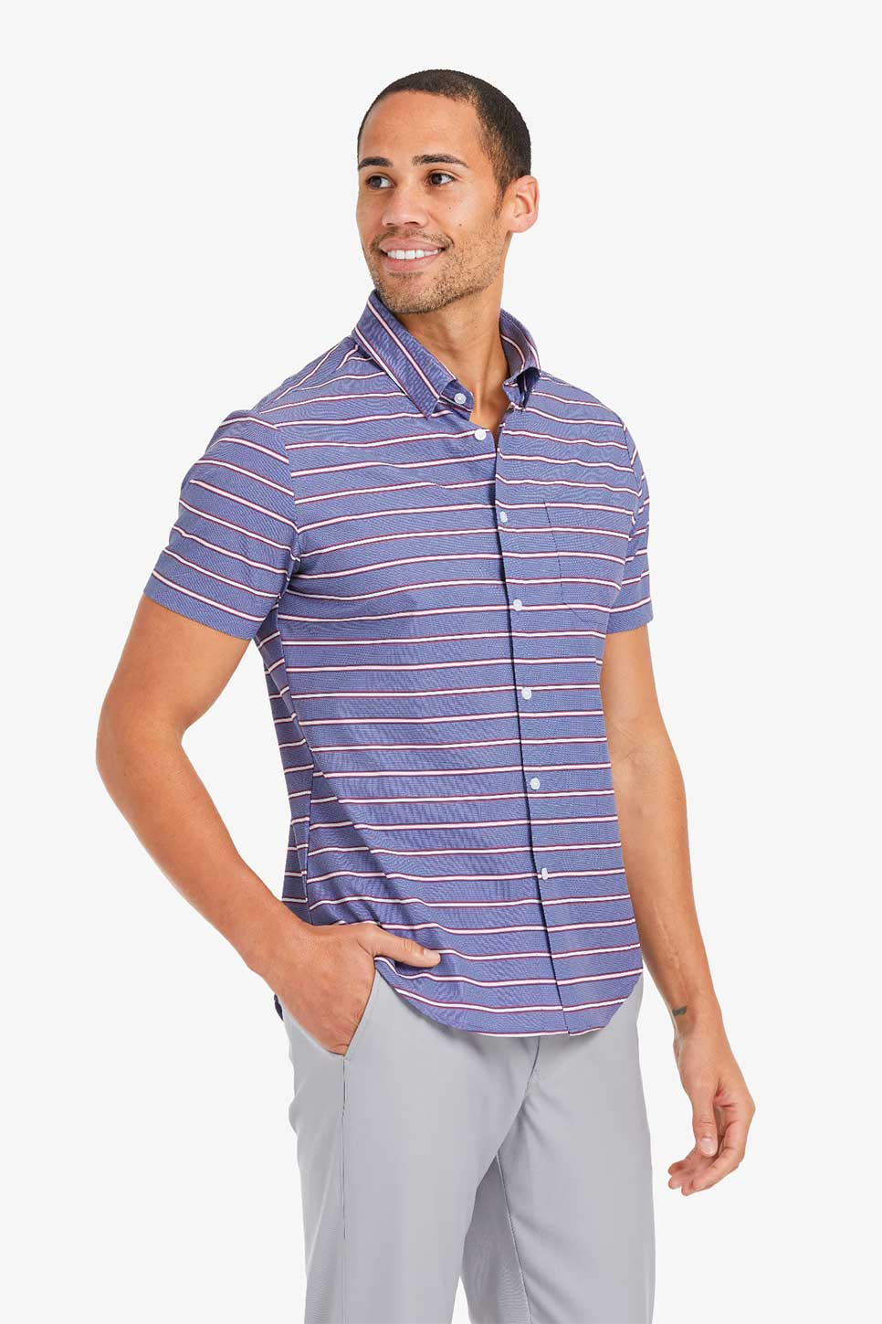 Mizzen + Main - Leeward SS - Chambray Horizontal Stripe - Front