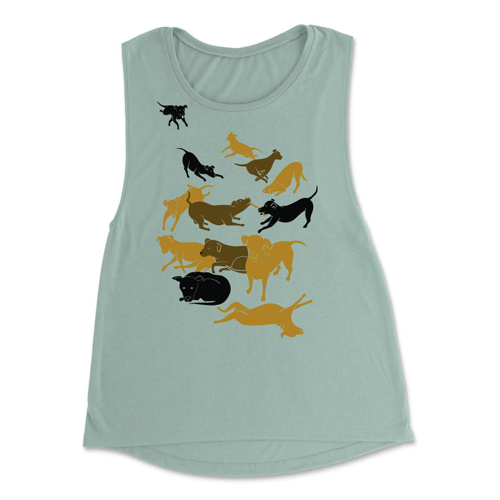 Dogs everywhere! - Women's Flowy Muscle Tank