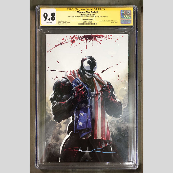Cyn City Comics Comic Books Venom: The End #1 C2E2 CGC 9.8 (RED/WHITE/BLUE SIG AND SKETCHED)
