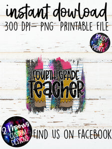 4th Grade Teacher- Back To School Brushstroke
