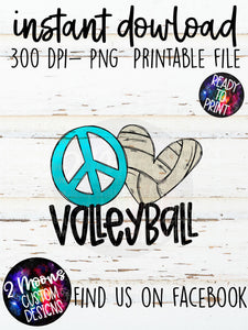 Peace Love Volleyball - Doodle Design - Hand Lettered