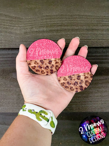 Hot Pink & Leopard- Car Coasters