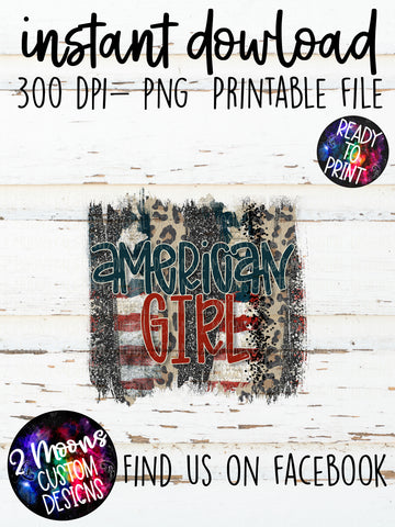 American Girl- Patriotic Brushstrokes- Patriotic Design