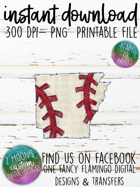Arkansas Baseball State- Doodle Design