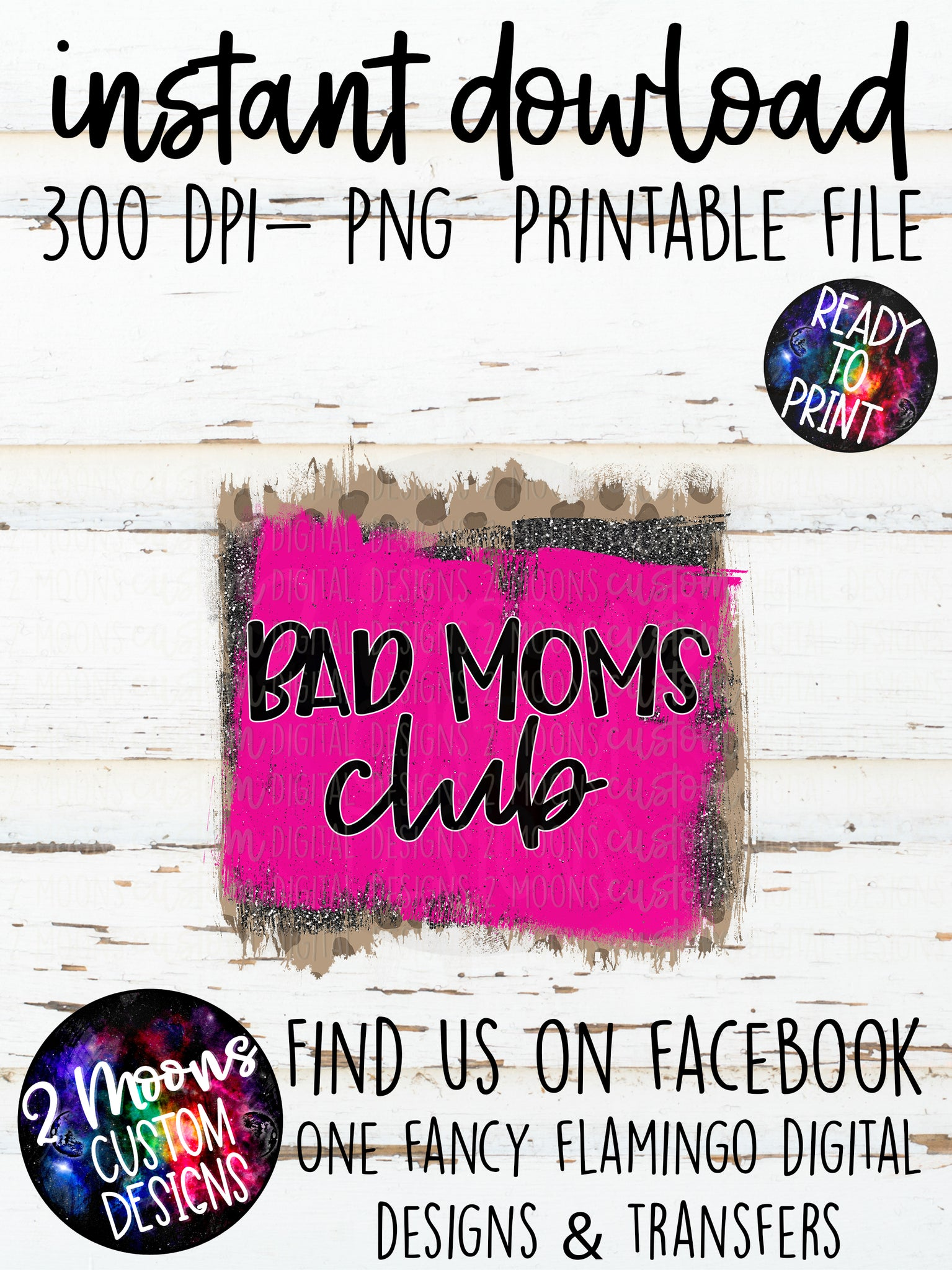 Bad Moms Club- Brush Strokes- Leopard Print