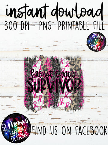 Breast Cancer Survivor- Breast Cancer Awareness Brushstroke