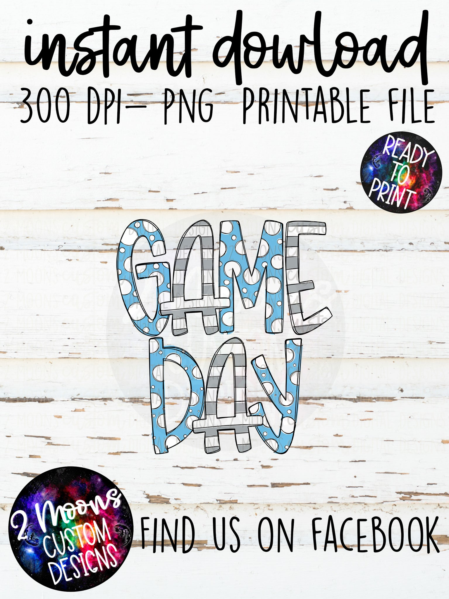 Carolina Blue & Gray  Game Day Design- Handlettered- Doodle Design