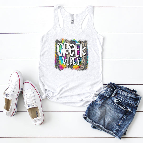 Creek Vibes- Hand Lettered Tie-Dye Brushstroke