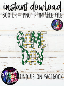 Green & Gold  Game Day Design- Handlettered- Doodle Design