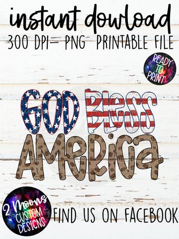 God Bless America Doodle- Patriotic Design- Handlettered