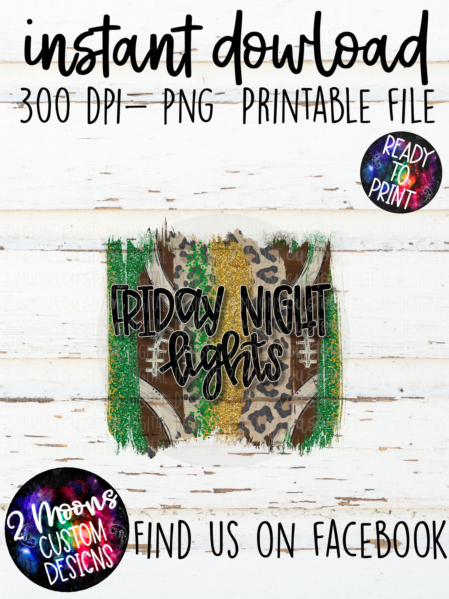 Friday Night Lights- Green & Gold- Football Brushstroke Design