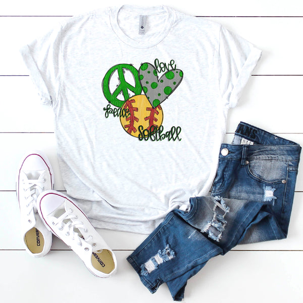 Peace Love Softball- Green- Doodle Design-Hand Lettered- Softball Design