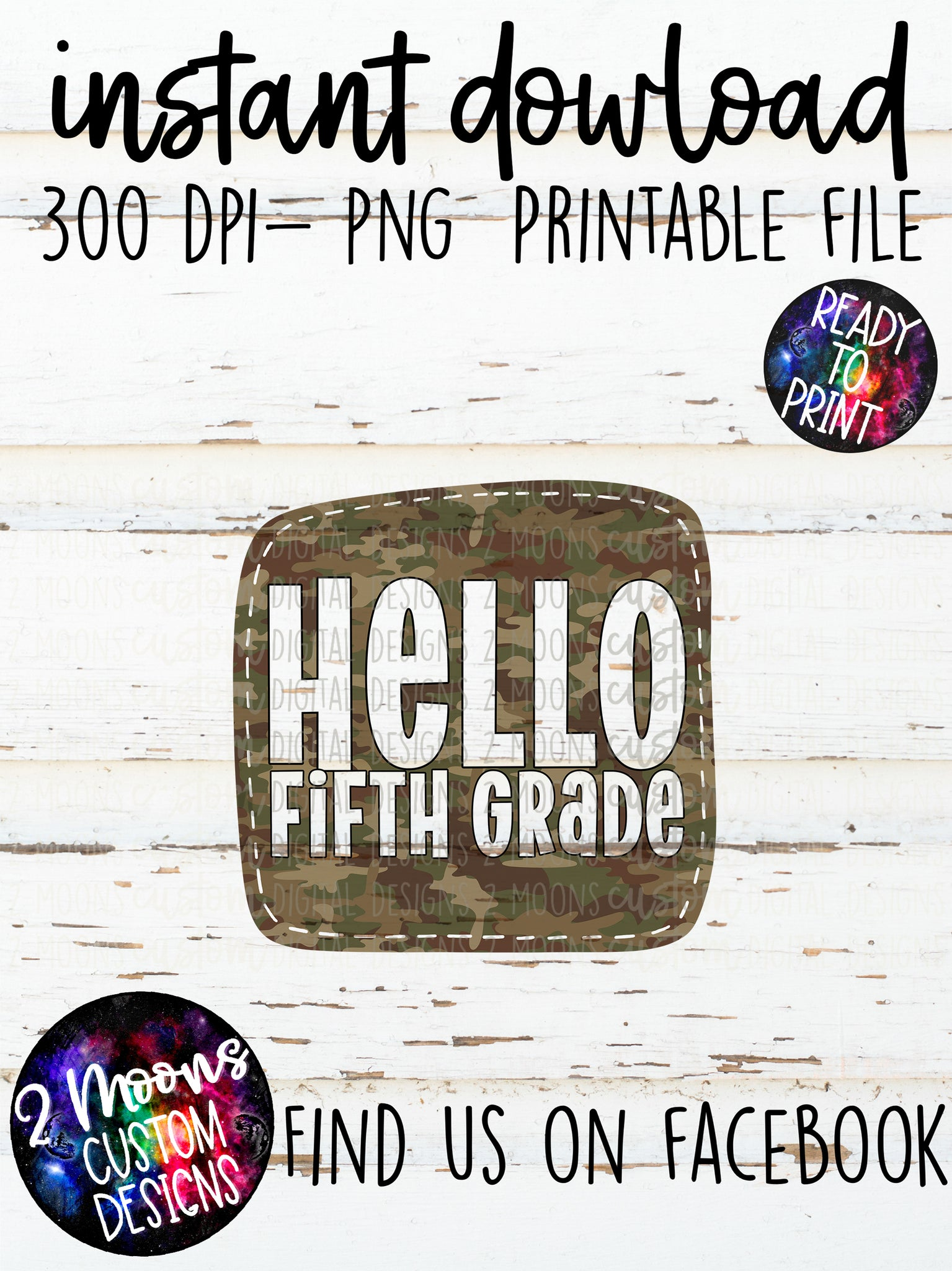 Hello Fifth Grade- Boy Design- Camo- Back to School
