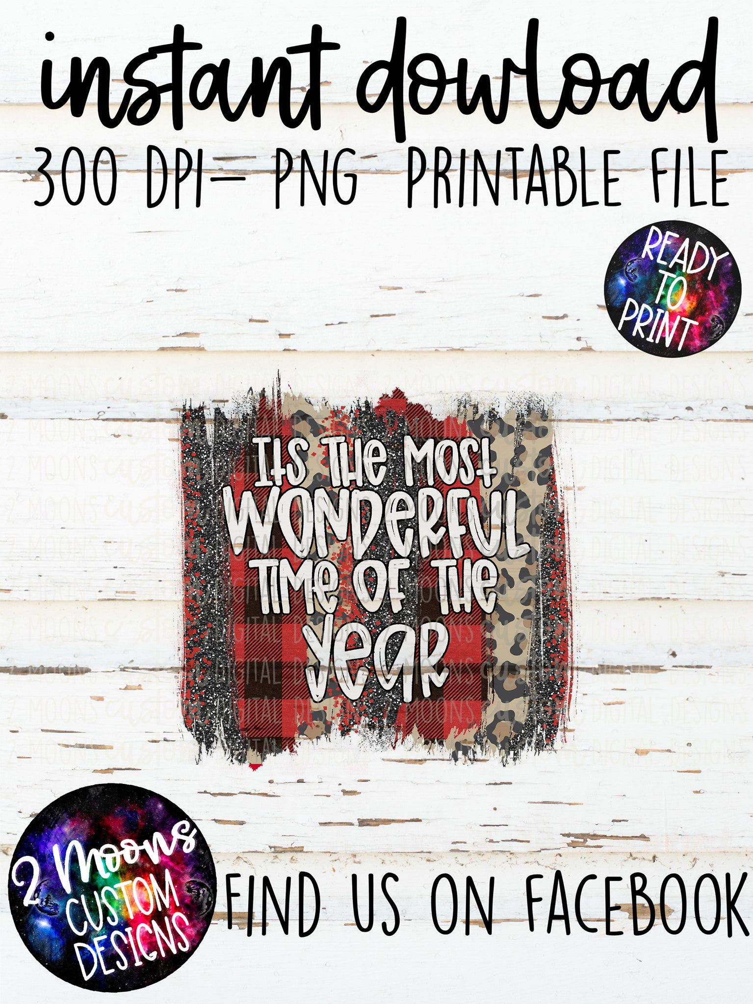 It's The Most Wonderful Tim Of the Year- Red Buffalo Plaid Brushstroke