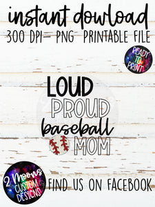 Loud Proud Mom- Baseball- Doodle Sports