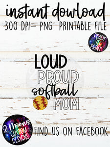 Loud Proud Mom- Softball- Doodle Sports