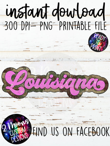 Louisiana- Camo + Pink Retro State