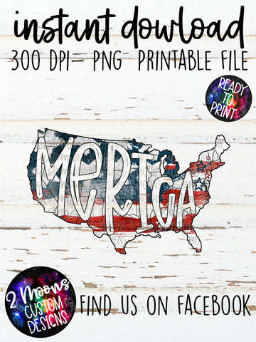Merica - USA - American Flag - Handlettered