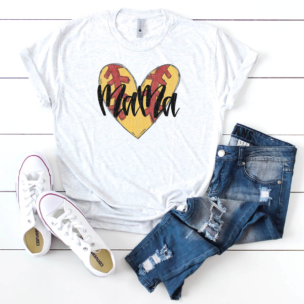 Mama-Softball Heart-Doodle Design- Hand Lettered