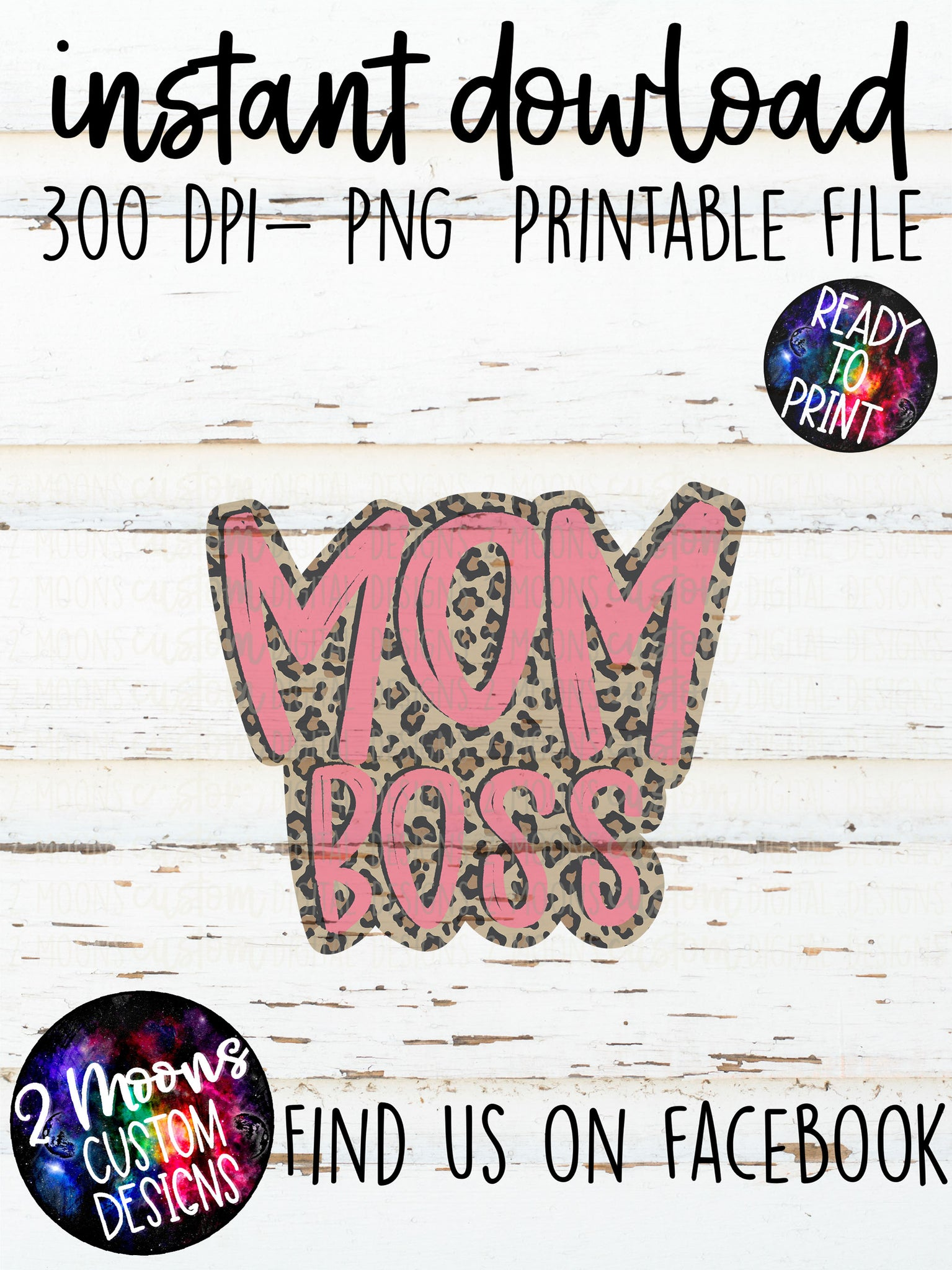 Mom Boss- Pink- Quote Design